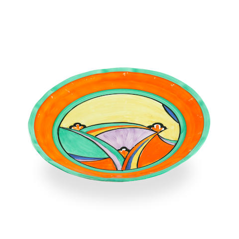 A Clarice Cliff Fantasque plate and a Bizarre plate circa 1930