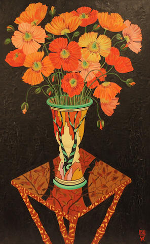 Greg Irvine (Australian, born 1946) Poppies in a Clarice Cliff Vase