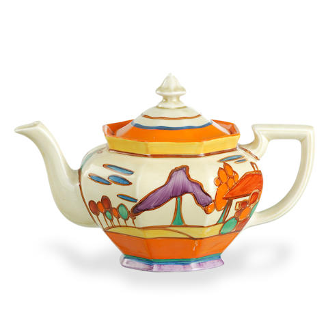 A Clarice Cliff Fantasque teapot in Trees and House pattern circa 1930