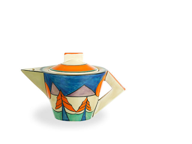 A Clarice Cliff  Bizarre  conical teapot and cover in Luxor pattern  circa 1930