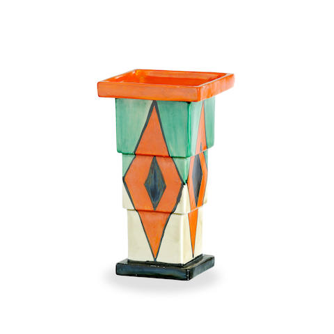 A Clarice Cliff Bizarre vase,in Diamond pattern. circa 1930
