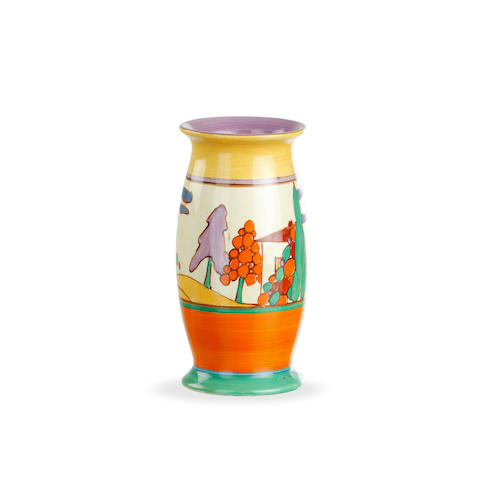 A Clarice Cliff Fantasque vase in Trees and House pattern. circa 1930