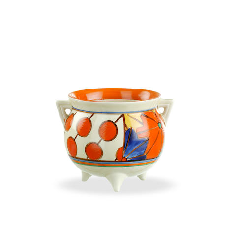 A Clarice Cliff Fantasque footed bowl in Umbrellas and Rain pattern  circa 1930