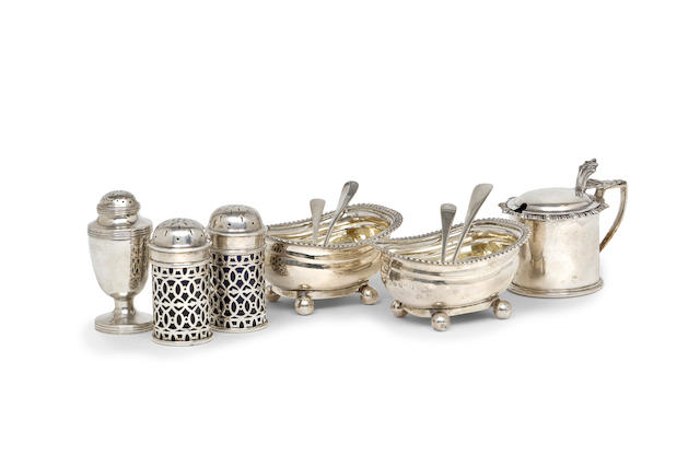 George III  sterling silver pair of footed salts  various makers including TW JH, Wm Bateman,  various dates including London 1813, 1828, Chester 1907, Sheffield, 1929.  (12)