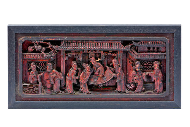 A Chinese zitan carved panel 20th century