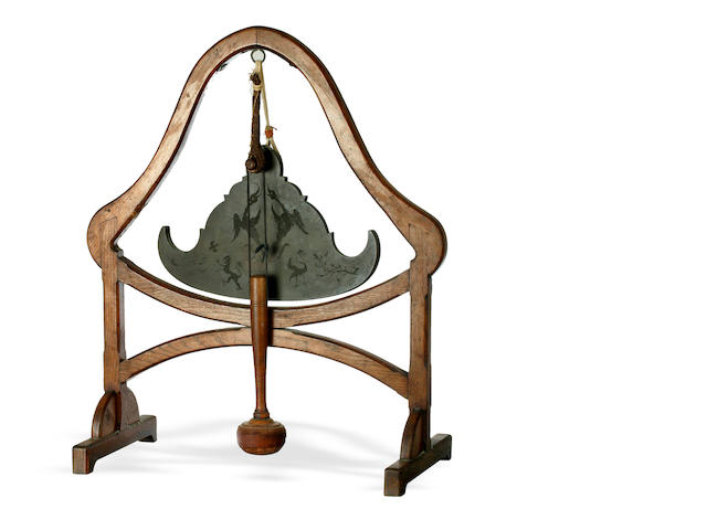 A Tibetan bronze temple gong late 19th century