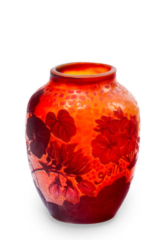 A Gallé three colour cameo glass posy vase circa 1900