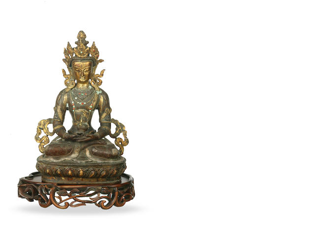 A Sino-Tibetan gilded bronze figure of Amitayus 19th century