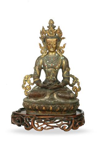 A Sino-Tibetan gilded bronze figure of Amitayus 19th century
