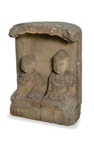 A Japanese grey sandstone stele  Edo period