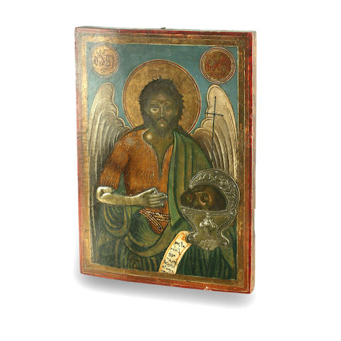 A 19th century Russian Icon of Saint John the Baptist