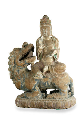 A Chinese carved wooden figure of Bodhissatva Ming