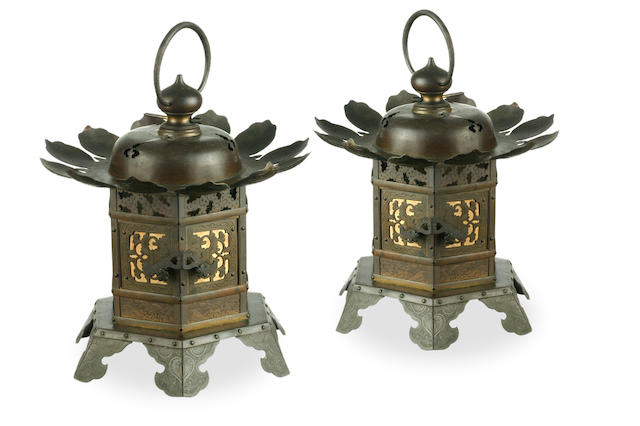 A pair of Japanese Meiji bronze temple lanterns, circa 1908