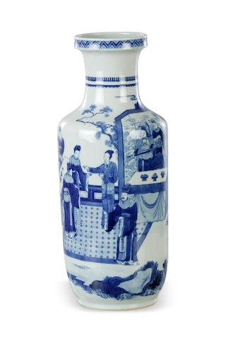 A Chinese blue and white rouleau vase Kangxi