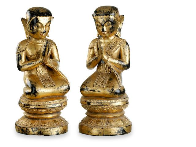 A pair of Burmese Buddist monks late 19th century
