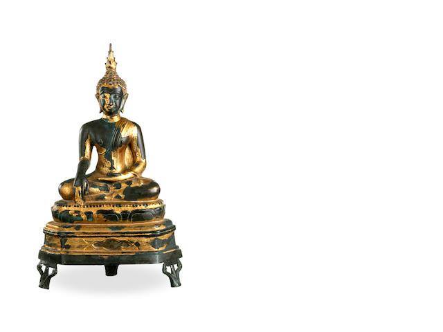 A Sukothai gilded bronze Buddha Sakyamuni