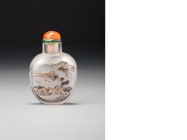 An inside-painted glass 'ducks and landscape' snuff bottle Ding Erzhong, dated 1900