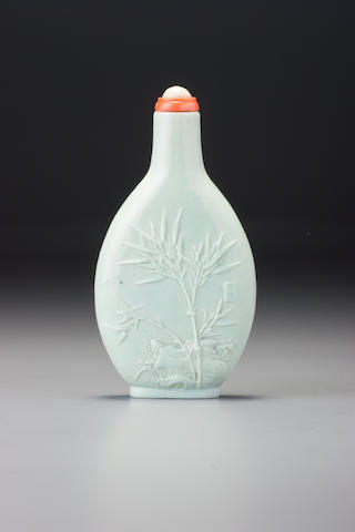An inscribed moulded pale turquoise-glazed porcelain 'bamboo' snuff bottle Danran jushi, probably Hu Wenxiang, Jingdezhen, 1820–1870