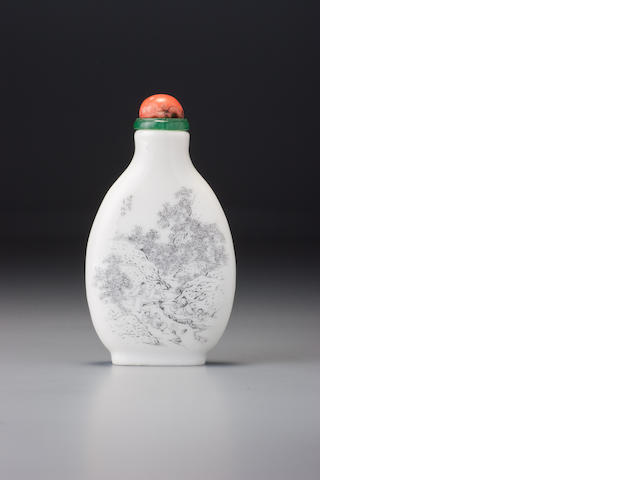 A white porcelain 'Lanting preface' snuff bottle Fang Bingwen, Guangxu incised four-character mark and of the period, dated 1897