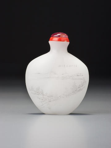 An inscribed white glass 'Lanting Preface' snuff bottle Bottle: possibly Yuanhu, Zhejiang province, circa 1903 (the decoration: Zhou Honglai, Hangzhou, 1903)