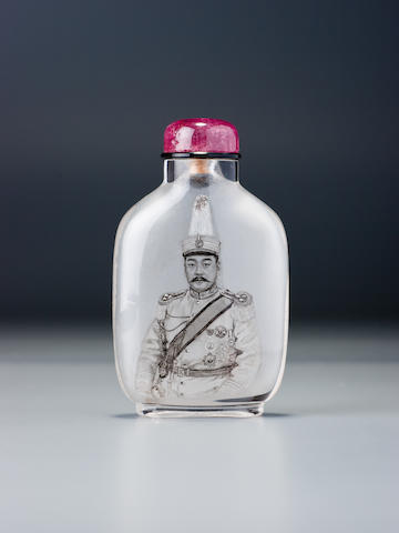 An inside-painted rock-crystal 'Jiang Yanxing' snuff bottle Ma Shaoxuan, 1915–1925
