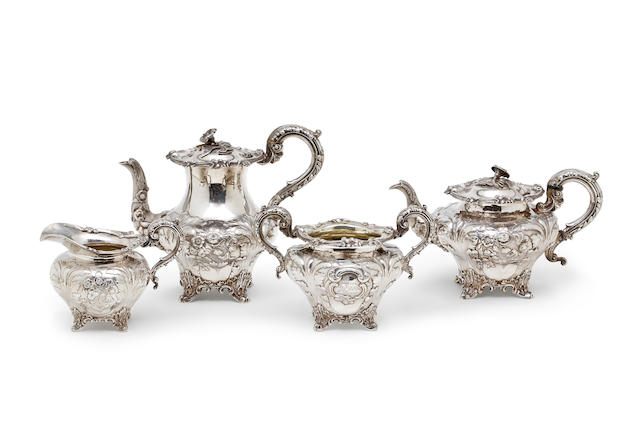 A Victorian silver three piece tea and coffee service IET and EJ  London  1838 and 1863