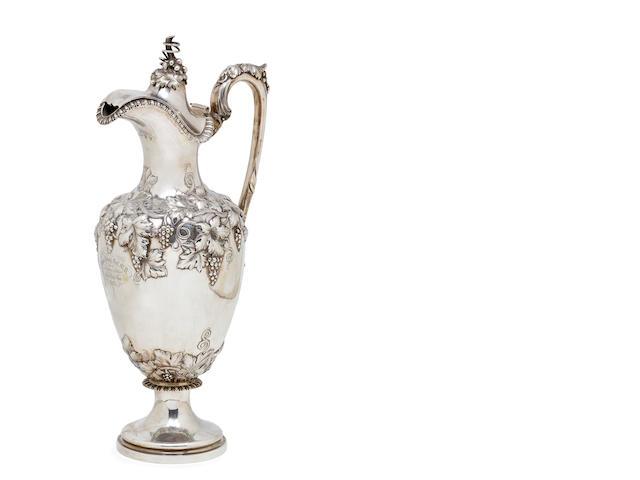 A Victorian sterling silver wine ewer DCR Edinburgh 1854