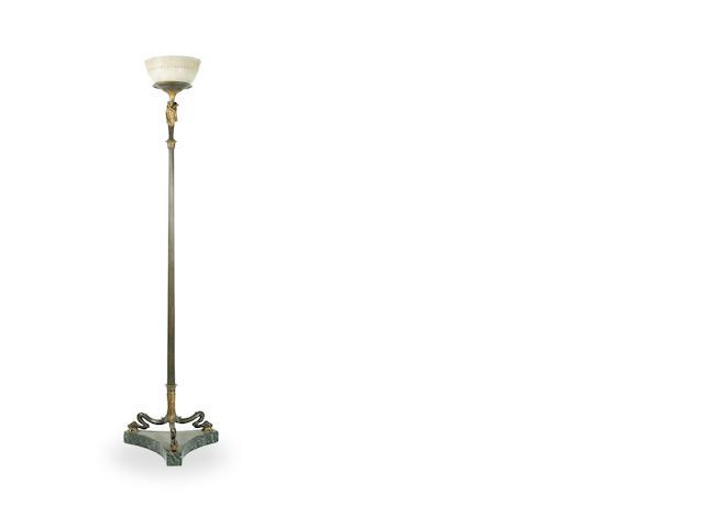 An Empire period gilt bronze standard lamp