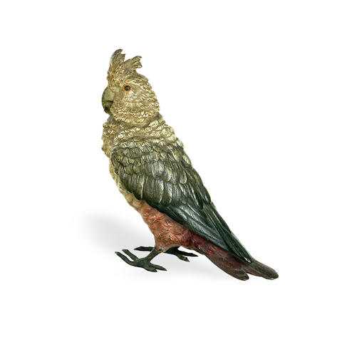 An Austrain cold painted bronze figure of a pink parrot