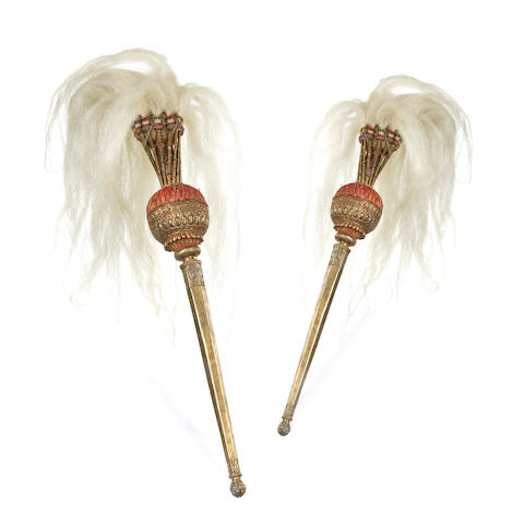 A pair of processional Indian fly whisks