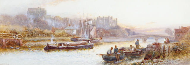Walter Stuart Lloyd (British, active 1875-1929) 'Arundel from the river'