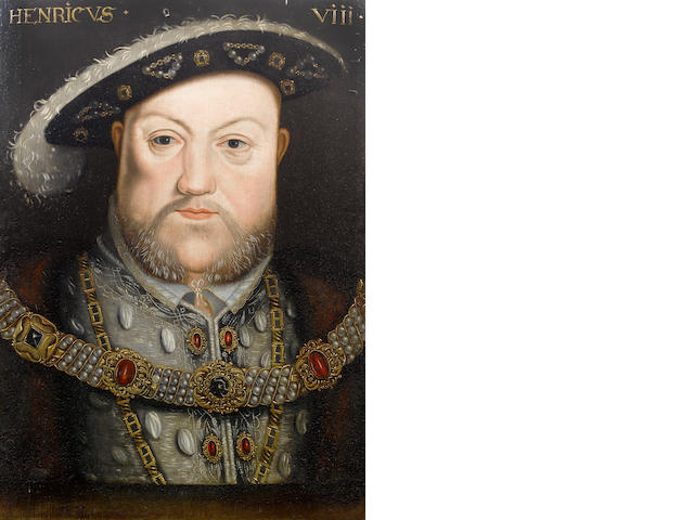 Manner of Hans Holbein the Younger, 17th Century Portrait of Henry VIII, half-length, in a grey embroidered costume inscribed 'HENRICUS Viii' (upper left and upper right)