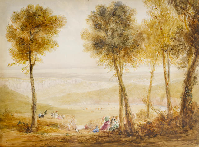 David Cox, RWS (British, 1773-1859) An extensive view of the Severn Valley with figures picknicking on the Wyndcliffe