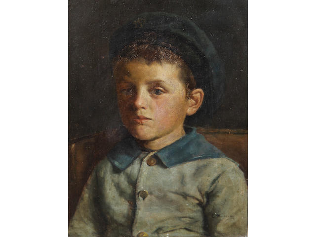 Edwin Harris, RBSA (British, 1855-1906) Portrait of a young boy, bust length, in a blue jacket and cap