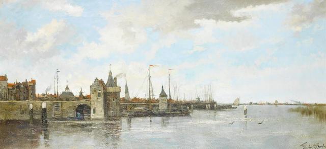 Théophile de Bock (Dutch, 1851-1904) View of Kampen harbour