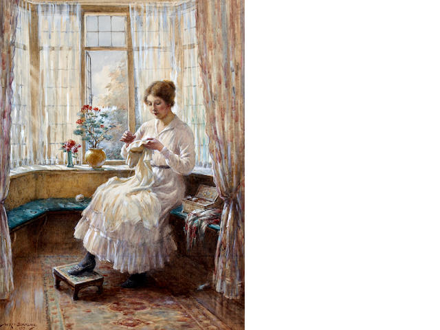 William Kay Blacklock (British, born 1872) Lady sewing seated by a window