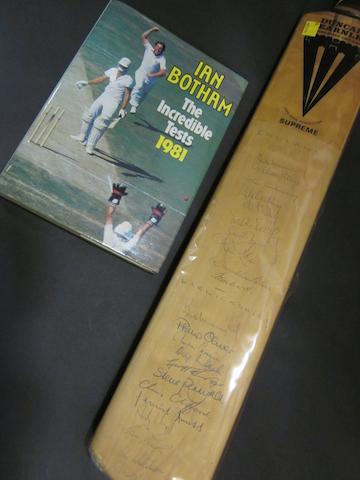 1981 test hand signed cricket bat