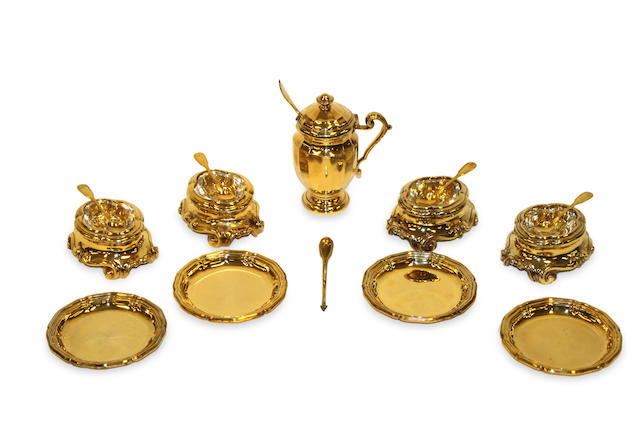 A set of Silver vermeil salts