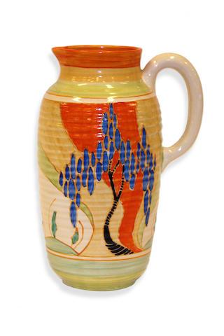 A Clarice Cliff Bizarre, Fantasque Jug,Windbells pattern circa 1930
