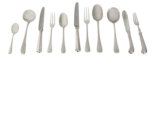 An English    sterling silver  cutlery service in rattail pattern with two sauce ladles in Old English pattern various makers including Garrards  various dates 1896-1937  (115)