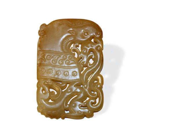 A Chinese fine white, ivory and russet toned nephrite plaque Song - Ming period