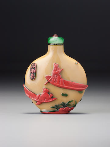 An inscribed three-colour glass overlay 'water buffaloes' snuff bottle Possibly made for Yu Changsui, Yangzhou, 1861–1883