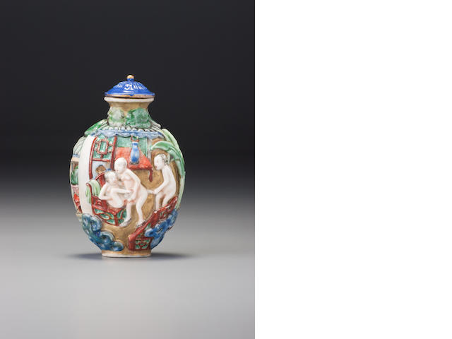 A moulded 'famille-rose' porcelain 'erotic subject' snuff bottle Jingdezhen, 1796–1830