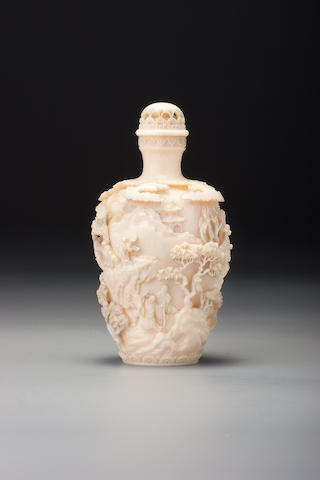 A carved ivory 'landscape' snuff bottle Kenkoku, Japan 1854–1900