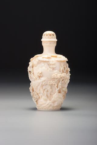 A carved ivory 'landscape' snuff bottle Kenkoku, Japan 1854–1900
