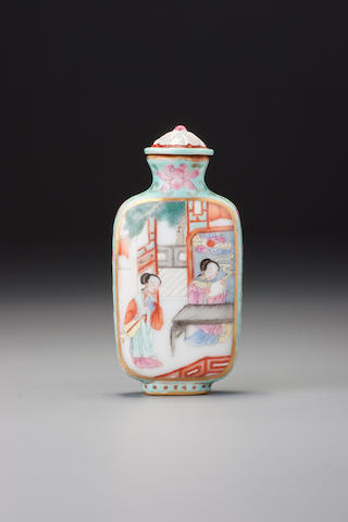A 'famille-rose' enamelled porcelain 'Xixiang ji' snuff bottle Imperial kilns, Jiaqing iron-red four-character seal mark and of the period, Jingdezhen, 1796–1820