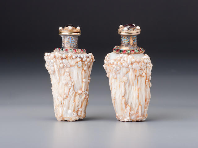 A pair of Baroque pearl and mixed-media snuff bottles Probably Imperial, attributed to Guangzhou, 1750–1820