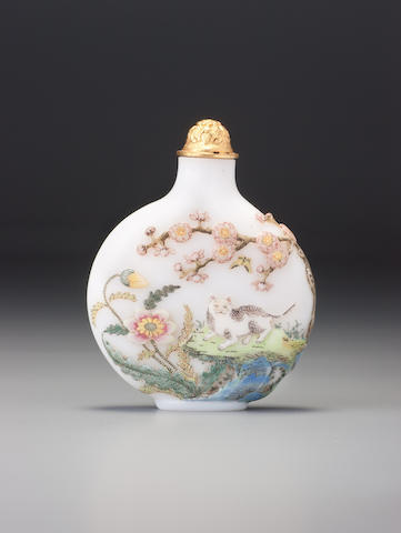 A carved 'famille-rose' enamelled glass 'cat' snuff bottle Imperial, palace workshops, Guyue xuan mark, Beijing, 1775–1799