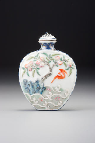 A moulded 'famille-rose' porcelain 'bat and peach' snuff bottle Imperial kilns, Jingdezhen, Qianlong underglaze-blue four-character seal mark and of the period, 1770–1799