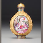 A gold-ground 'famille-rose' enamelled copper 'European-subject' snuff bottle Imperial, Qianlong incised four-character mark and of the period, palace workshops, Beijing, 1770–1779 (the panels: European, possibly England, circa 1770–1780)